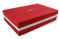Premium-Geschenkbox - Geschenkverpackung Made in Germany (Rot, Weiß, Rot) 41x9x31 cm
