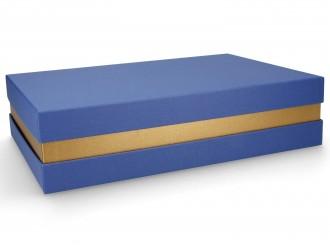 Premium-Geschenkbox - Geschenkverpackung Made in Germany (Blau, Gold, Blau) 33x8x22 cm