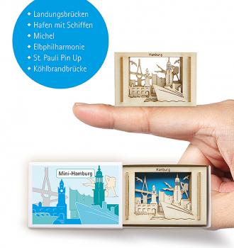 """Streichholzschachtel """"Hamburg"""" Mini 3D-Stadt - Kleines Mitbringsel"""