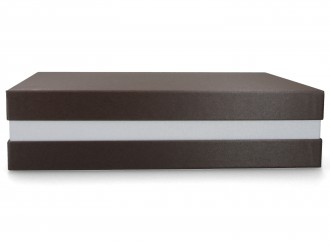 Premium-Geschenkbox - Geschenkverpackung Made in Germany (Braun metallic, Pastellrosa, Braun metallic) 33x8x22 cm