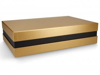 Premium-Geschenkbox - Geschenkverpackung Made in Germany (Gold, Schwarz, Gold) 33x8x22 cm