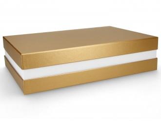 Premium-Geschenkbox - Geschenkverpackung Made in Germany (Gold, Weiß, Gold) 33x8x22 cm
