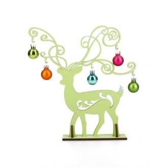 Rentier grün mit 5 bunten Glaskugeln - Deko Idee