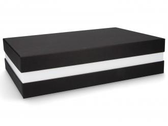 Premium-Geschenkbox - Geschenkverpackung Made in Germany (Schwarz, Weiß, Schwarz) 33x8x22 cm