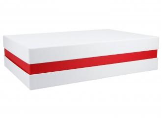 Premium-Geschenkbox - Geschenkverpackung Made in Germany (Weiß, Rot, Weiß) 33x8x22 cm