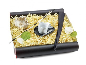 """Geschenkbox """"Espressissimotasse Tasse"""" (Luigi Colani Designer Espressissimotasse mit Designer Löffel + Cappuccino Designer Löffel) Geschenkidee"""