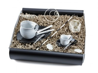 """Geschenkbox """"schöne Tassen"""" (Luigi Colani Designer Kaffeebecher + Luigi Colani Designer Espressissimotasse + Cappuccino Designer Löffel)"""