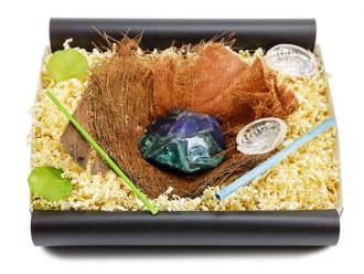 """Geschenkbox """"Azurit Malachit"""" mit Bananenblatt - besonderes Geschenk"""
