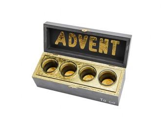 """Advent """"to go"""" Box mit echten Bienenwachskerzen - Adventskranz mit Teelichtern - 100% Bienenwachs - Originelles Weihnachtsgeschenk"""