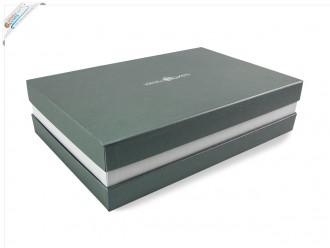 Premium-Geschenkbox - Geschenkverpackung Made in Germany (Silber, Weiß, Silber) 41x9x31 cm