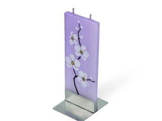 flatyz mehrdocht flachkerze lila mit weissen blueten