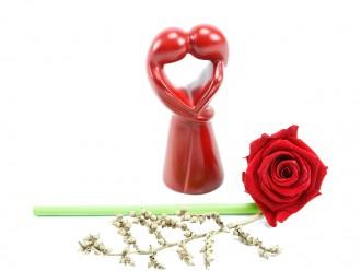 """Afrikanische Deko Figur """"Kuss der Liebenden"""" rot, 10 cm"""