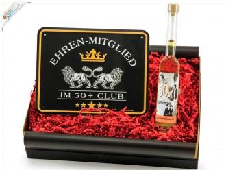 """Geburtstagsgeschenk Set """"Runder Geburtstag 50"""" (Blechschild - Ehren-Mitglied im 50+ Club + Geburtstagslikör 50´) von ideas in boxes"""