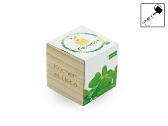 Geschenkidee - Flowercube *Minze* Kochen ist Liebe - ökologische Pflanze mit Samen und Wachstumsgranulat - Kleine Idee zum Verschenken