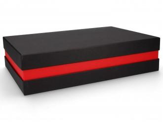 Premium-Geschenkbox - Geschenkverpackung Made in Germany (Schwarz, Rot, Schwarz) 33x8x22 cm