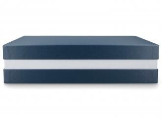 Premium+ Geschenkbox - Geschenkverpackung Made in Germany (Blau, Silber, Blau) 33x8x22 cm