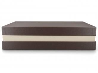 Premium-Geschenkbox - Geschenkverpackung Made in Germany (Braun metallic, Weiß, Braun metallic) 33x8x22 cm