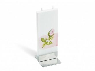 Gechenkidee flatyz mehrdocht flachkerze rosa roseenknospe