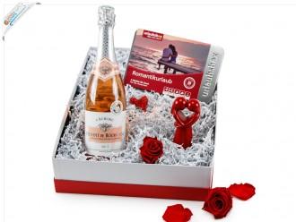 """Liebevolle Geschenkbox """"Romantikurlaub"""" (Kurztrip + Wein)"""