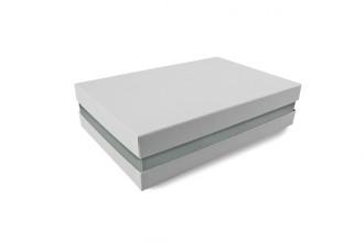 Premium-Geschenkbox - Geschenkverpackung Made in Germany (Weiß, Silber, Weiß) 33x8x22 cm