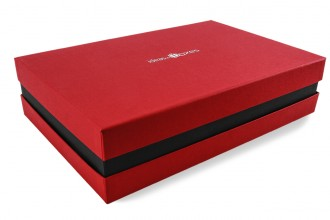Premium-Geschenkbox - Geschenkverpackung Made in Germany (Rot, Schwarz, Rot) 41x9x31 cm