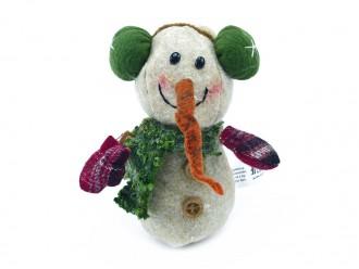 Schneemann mit grünen Ohrenschützern - Dekoidee