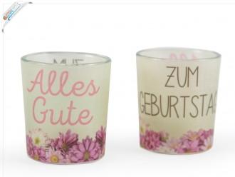 """Teelicht mit Motiv """"Alles Gute zum Geburtstag"""""""