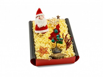 Weihnachtsgeschenk - Geschenkset mit Nikolaus Eierwärmer und Deko-Tannenbaum