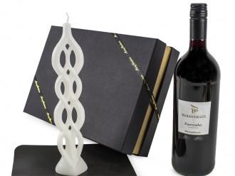 Weihnachtsgeschenk Geschenkset mit Glühwein und Alusi Mehrdochtkerze