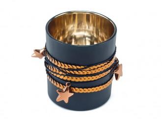Windlichtglas Pailette Glas schwarz Kupfer - Teelichthalter