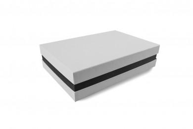 Premium-Geschenkbox - Geschenkverpackung Made in Germany (Weiß, Schwarz, Weiß) 33x8x22 cm
