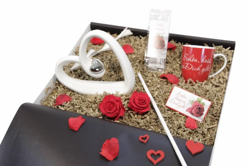 """Liebesbox """"Schön, dass es dich gibt"""" weiß-weiß (Herz liegend"""