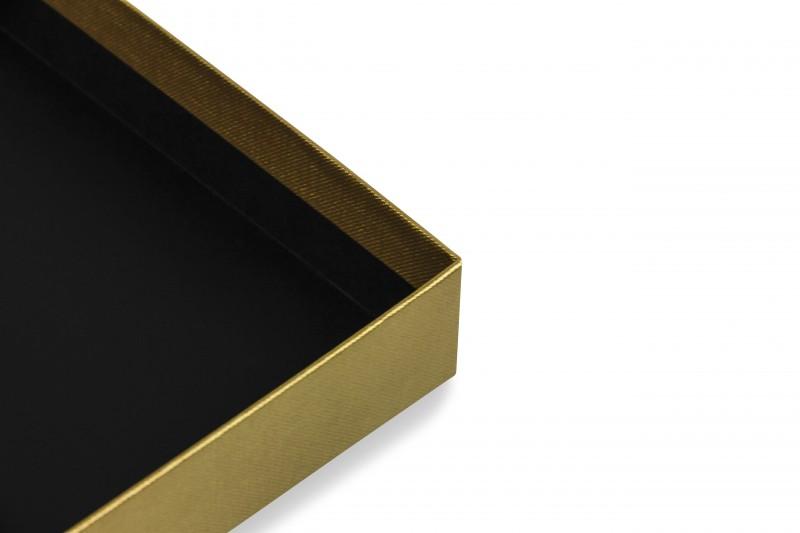 Premium-Geschenkbox - Geschenkverpackung Made in Germany (Gold, Weiß, Gold) 41x9x31 cm