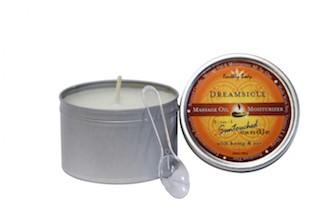 Duftkerze die in warmes Massage-Öl übergeht - Mandarine/Pflaume