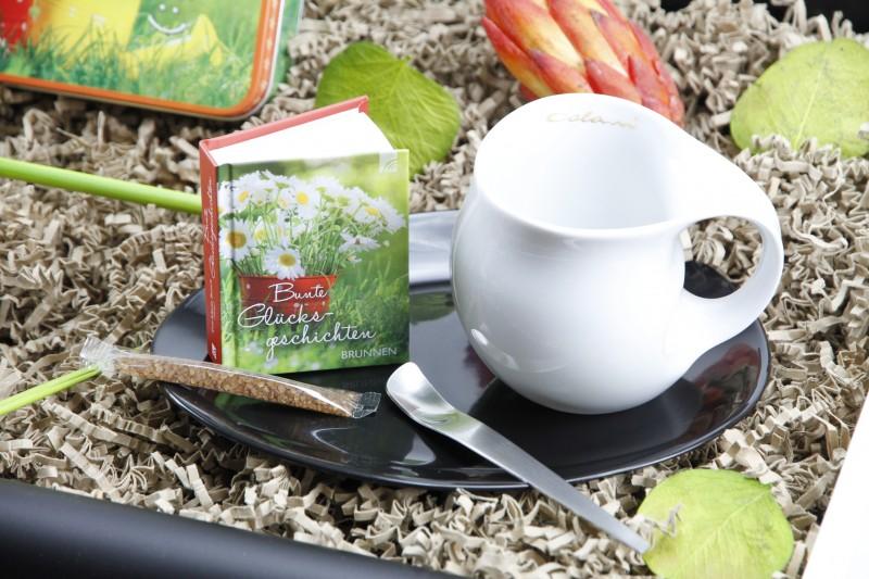 """Geschenkbox """"Zeit für ein Lächeln"""" Tee-Set (Luigi Colani Designer Kaffeebecher zweifarbig + Teedose *Zeit für ein Lächeln*) kreatives Geschenkset für Männer und Frauen"""