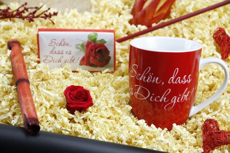 """Geschenkbox """"Heisse Liebe"""" Frühstücksset (Spruchbecher"""