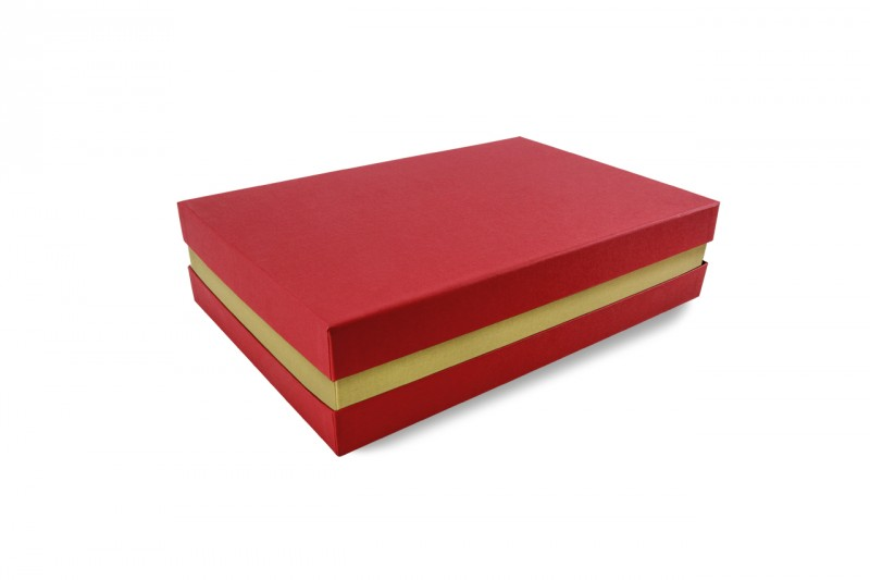 Premium-Geschenkbox - Geschenkverpackung Made in Germany (Rot, Gold, Rot) 33x8x22 cm
