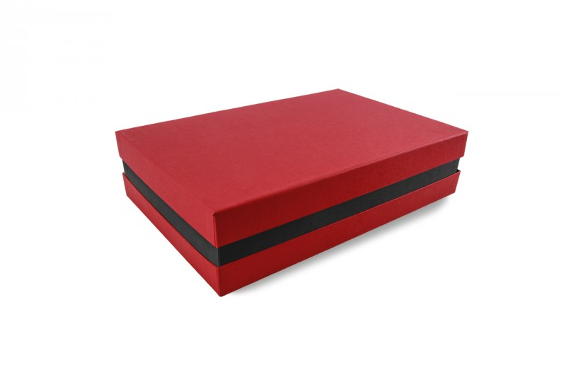 Premium-Geschenkbox - Geschenkverpackung Made in Germany (Rot, Schwarz, Rot) 33x8x22 cm