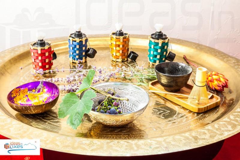 """Geschenkset """"painted flammes"""" (4 x Bambusfackeldose blau,rot, orange, grün + 4 x Brennflüssigkeit 170ml blau,rot, orange, grün) Geschenk für Männer"""
