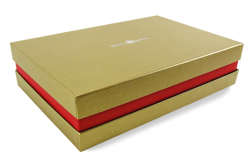 Premium-Geschenkbox - Geschenkverpackung Made in Germany (Gold, Rot, Gold) 41x9x31 cm