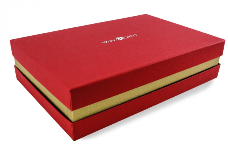 Premium-Geschenkbox - Geschenkverpackung Made in Germany (Rot, Gold, Rot) 41x9x31 cm