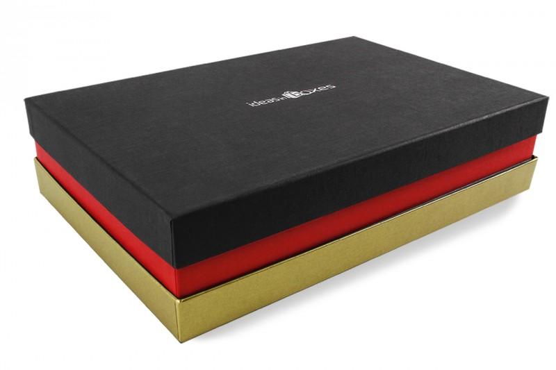 Premium-Geschenkbox - Geschenkverpackung Made in Germany (Schwarz, Rot, Gold) 41x9x31 cm