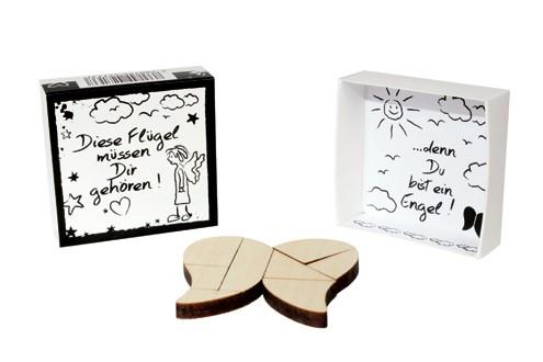 SCHATZKÄSTCHEN, Motivschachtel mit Holz Puzzle: Engelsflügel - Liebevolle Geschenkidee