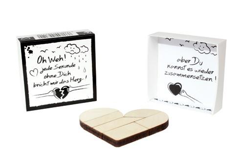 SCHATZKÄSTCHEN, Motivschachtel mit Holz Puzzle: Herz - Geschenk für Lieblingsmenschen