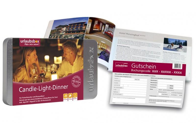 """Urlaubsbox - Kurzurlaub """"Candle-Light-Dinner Deluxe"""" für 2 Personen - Reisegutschein - Weihnachtsgeschenkidee"""