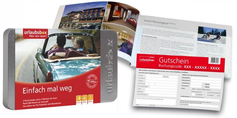 """Urlaubsbox - Kurzurlaub """"Einfach mal weg"""" für 2 Personen - Reisegutschein - Weihnachtsgeschenk"""