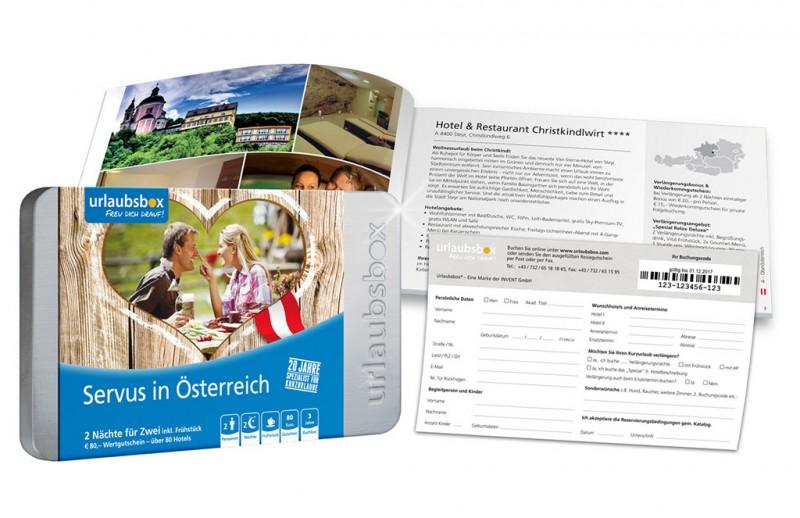 """Urlaubsbox - Kurzurlaub """"Servus in Österreich"""" für 2 Personen - Reisegutschein"""