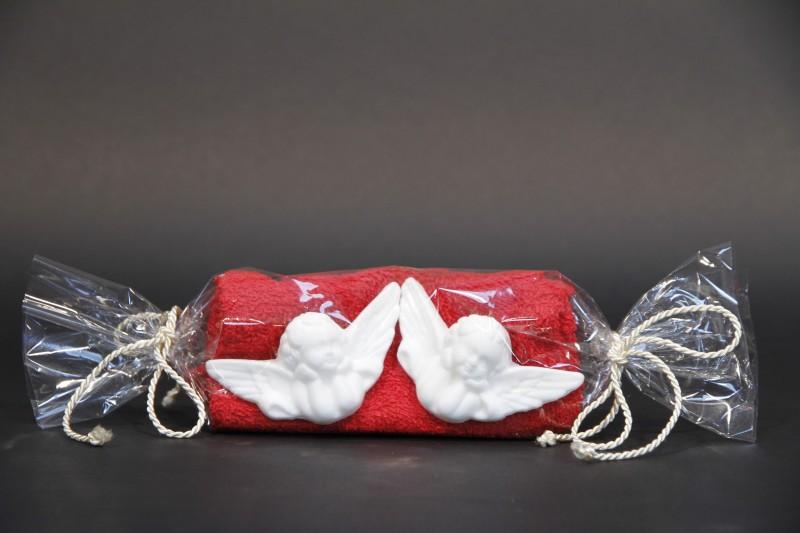 Bonbonset mit Waschhandschuh rot, 2 Engelseifen weiß 25g