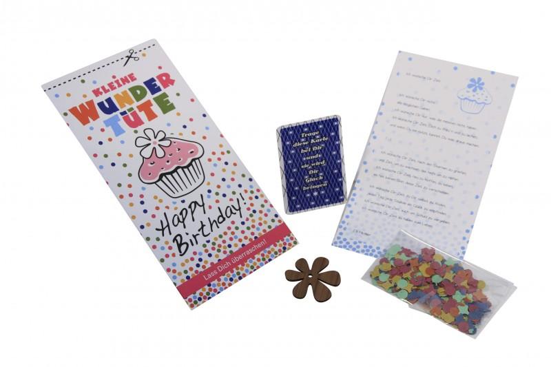WUNDERTÜTE, Geschenkkarte mit Inhalt Happy Birthday