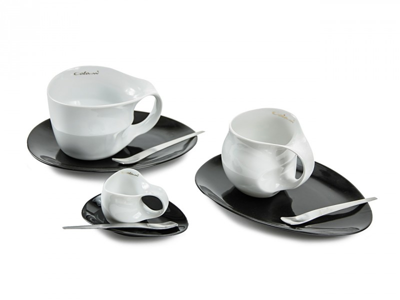 Luigi Colani Designer Jumbotasse zweifarbig (Weiße Jumbotasse + schwarze ovale Untertasse + Designer Löffel) Designgeschenk Kaffeeset